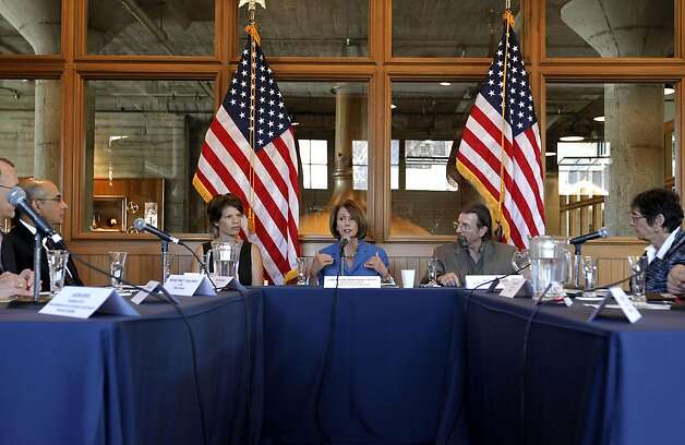 "Democratic Leader Nancy Pelosi held a roundtable with local manufacturers, at the Anchor Steam Brewing Co., in San Francisco, Ca., on Thursday September 29, 2011, to discuss the House Democrats' ""Make It In America"" initiative, President Obama's American Jobs Act, and how Congress can best help small businesses grow and hire. Photo: Michael Macor, The Chronicle"