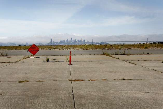 Looking west across Alameda Point toward San Francisco, much of this area will remain undeveloped and a bird sanctuary. The City of Alameda and the Department of the Navy have come to an agreement for the city to take over 918 acres of the former Naval Air Station now called Alameda Point. Photo: Brant Ward, The Chronicle