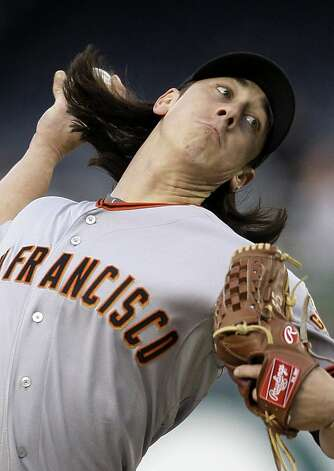 San Francisco Giants starting pitcher Tim Lincecum delivers against the Washington Nationals during the first inning of a baseball game at Nationals Park, Friday, April 29, 2011, in Washington. Photo: Jacquelyn Martin, AP