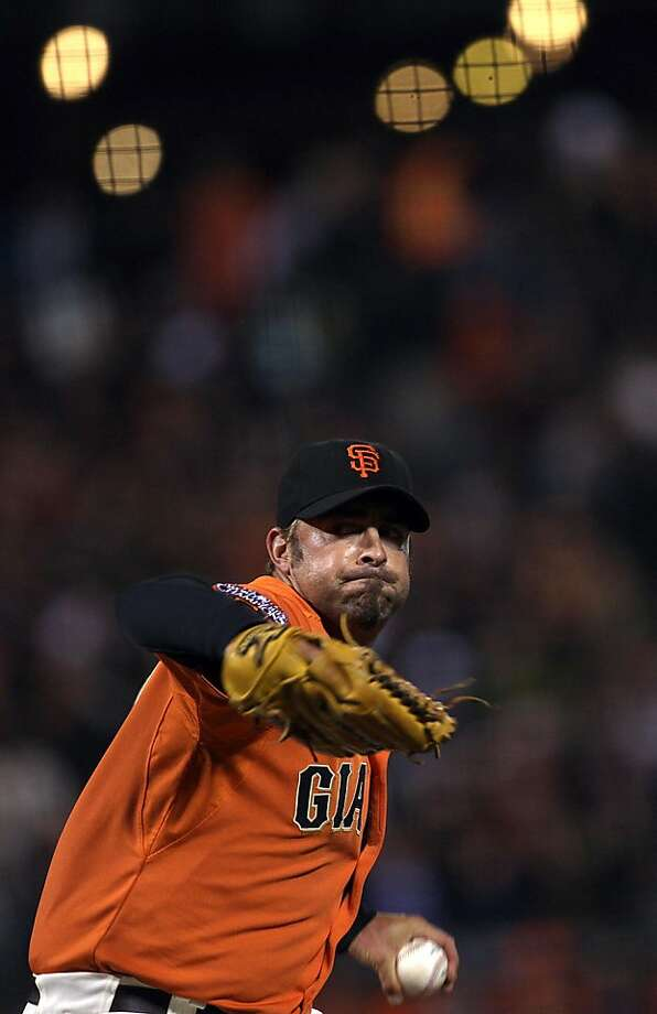 Milwaukee Brewers vs. SF Giants at  AT&T Park in San Francisco, Calif., as Giant's Jeremy Affeldt pitches toward the end of the game on Friday, July 22, 2011. Photo: Liz Hafalia, The Chronicle