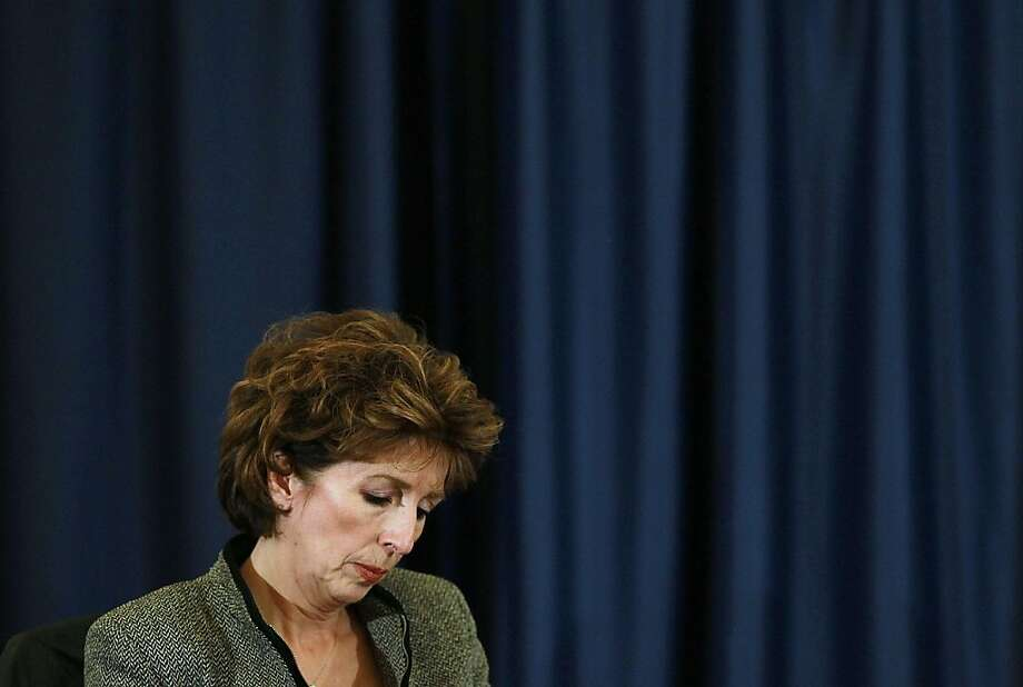 DAVIS, CA - NOVEMBER 28:  UC Davis chancellor Linda Katehi looks down during a UC Regents meeting on the UC Davis campus on November 28, 2011 in Davis, California. Student protesters and members of the Occupy movement are calling for a general strike at the UC Davis campus to coincide with the UC Regents meeting that is being held on four UC campuses. Students are outraged in the wake of an incident where a UC Davis police officer pepper sprayed protestors who sat passively with their arms locked.  (Photo by Justin Sullivan/Getty Images) Photo: Justin Sullivan, Getty Images