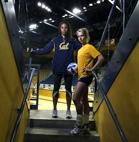 The University of California Volleyball players Tarah Murrey left and Robin Rostratter get ready to host the Arizona teams at Haas Pavilion Tuesday, Sept. 27, 2011. Photo: Lance Iversen, The Chronicle