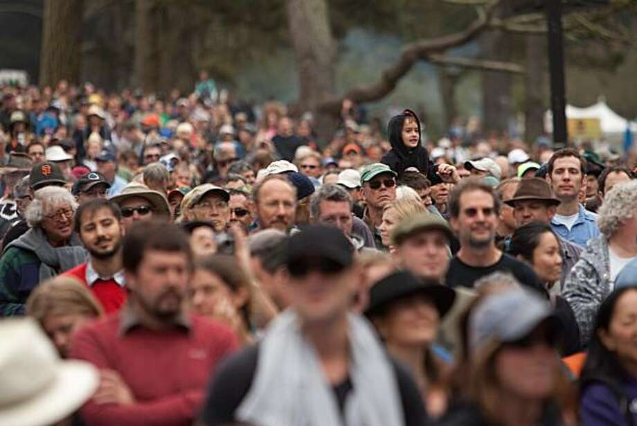 Fans enjoy the music of Trombone Shorty at the Star Stage during the day 2 of the Hardly Strictly Bluegrass on October 2, 2010 in Golden Gate Park, San Francisco, Calif.  Photograph by David Paul Morris/Special to the Chronicle Photo: David Paul Morris, Special To The Chronicle