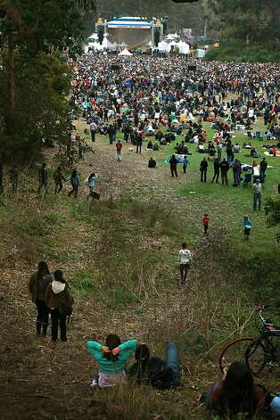 Crowds watching Patti Smith at the 10th anniversary of the Hardly Strictly Bluegrass festival on the Speedway in Golden Gate Park in San Francisco, Calif.,  on Sunday, October 3, 2010. Photo: Liz Hafalia, The Chronicle