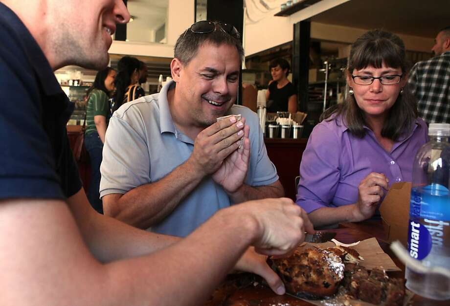 Chris Rivard (left), Eric Fredette (middle), and Marriane Corcoran (right), part of Bizarre & D, a team of seven flavor gurus from Ben & Jerry's ice cream seeking inspiration at Tartine bakery in San Francisco, California, on Wednesday, September 21, 2011. Photo: Liz Hafalia, The Chronicle