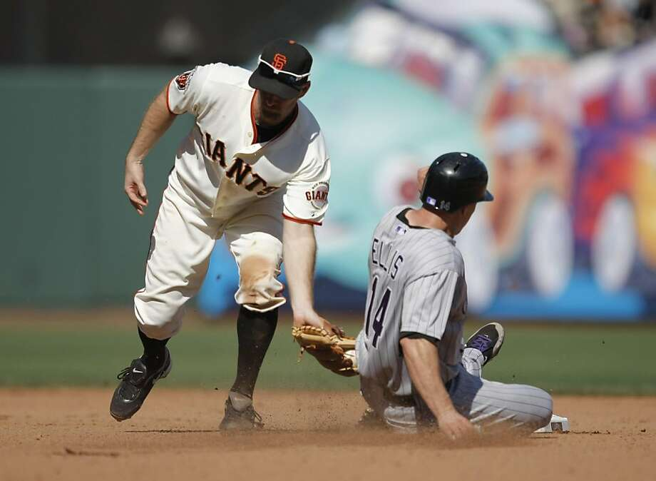 Colorado Rockies second baseman Mark Ellis steals second base in the game against the San Francisco Giants at AT&T Park in San Francisco, Calif., on Wednesday, Sept. 28, 2011.  The Rockies won 6-3 in the season finale. Photo: Dylan Entelis, The Chronicle