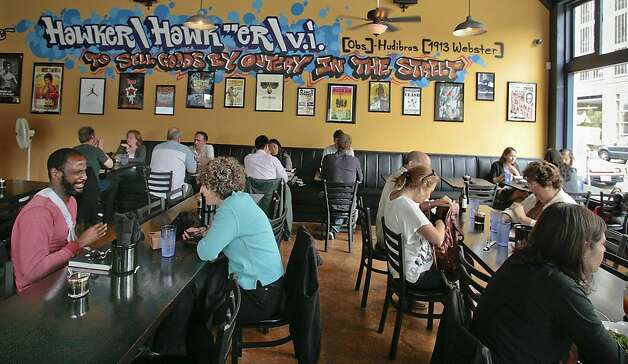 Diners enjoy lunch at Hawker Fare restaurant in Oakland, Calif., on July11th, 2011. Photo: John Storey, Special To The Chronicle
