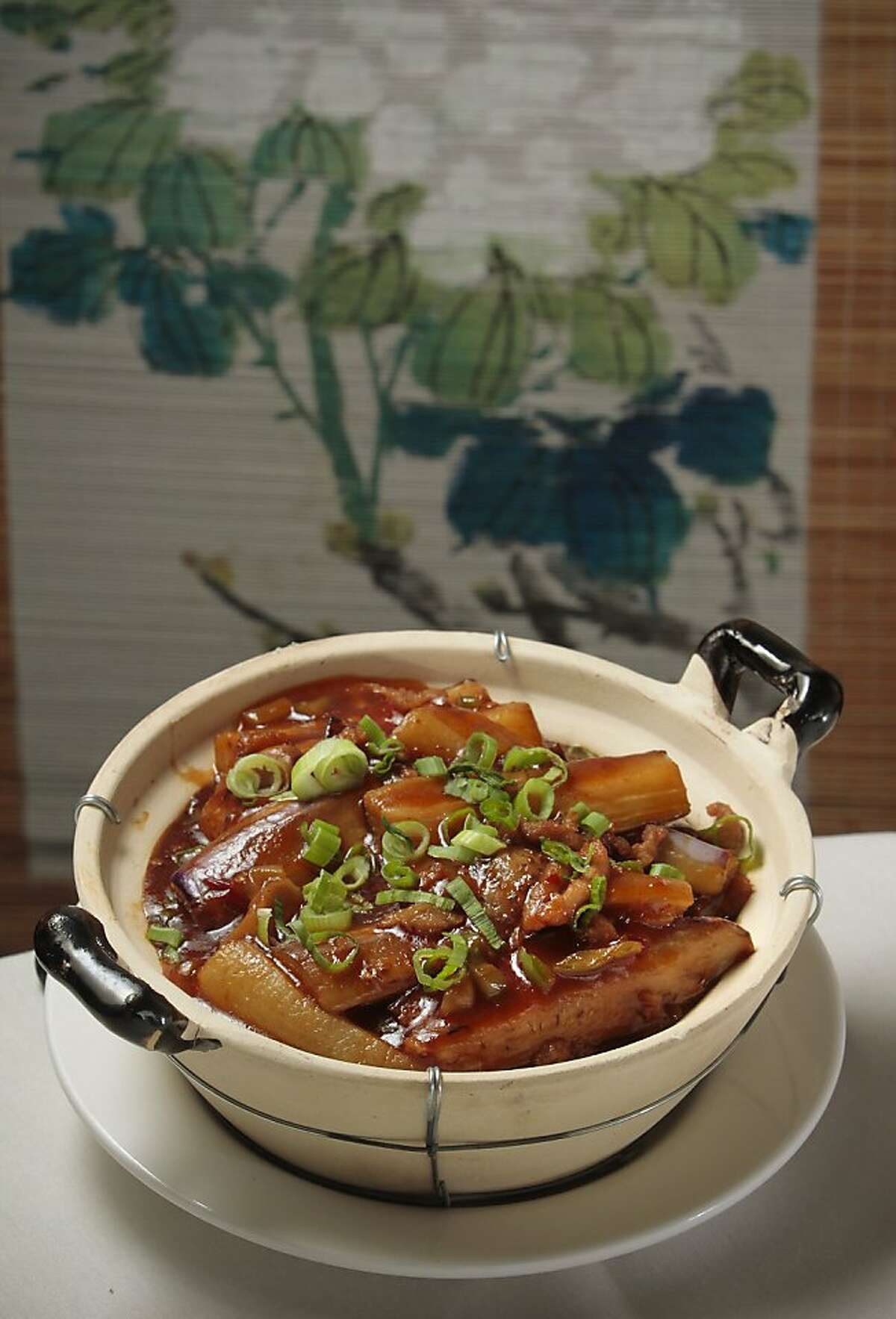 The Eggplant in a clay Pot at the East Ocean Seafood Restaurant in Alameda, Calif. is seen on June 3rd, 2011.