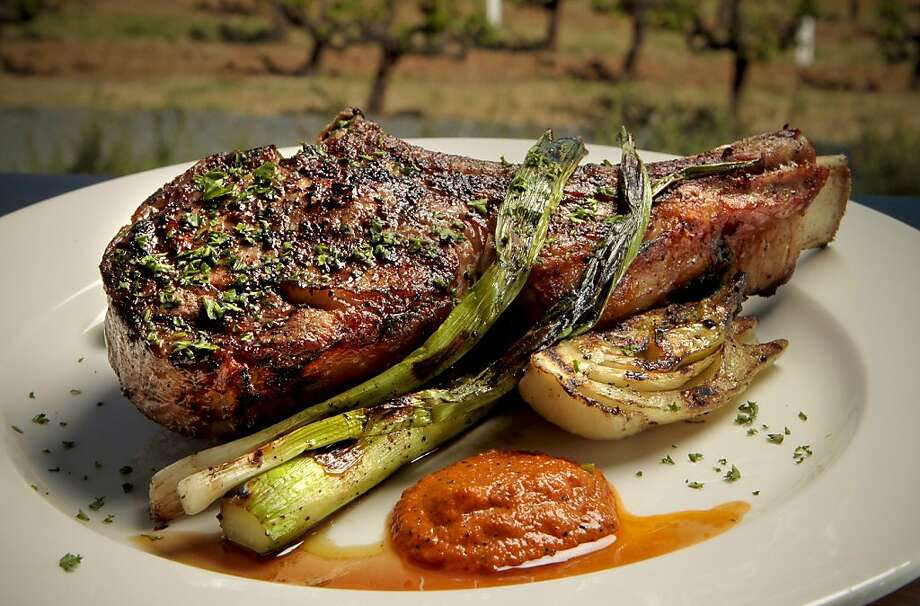 The Veal Chop At Rustic Restaurant Francis Ford Coppolas Winery In Geyserville Calif