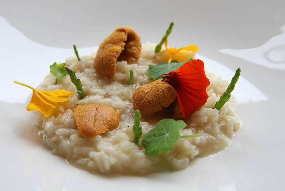 """Smoked Risotto--urchin, sea beans, nasturtium-- at the Plate Shop in Sausalito, Calif., on Friday,  April 22, 2011. Plate Shop is a new small restaurant that lives by the garden and the """"whole animal"""" philosophy. Photo: Liz Hafalia, The Chronicle"""
