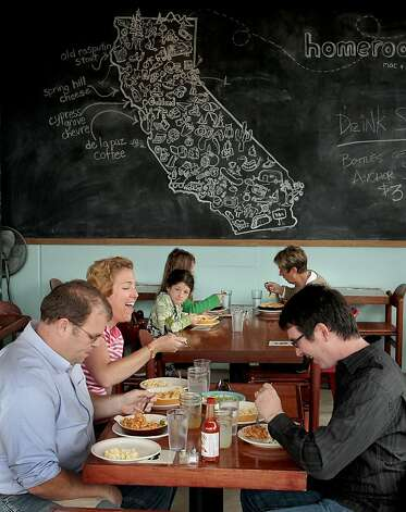Diners enjoy lunch at Homeroom Mac + Cheese Restaurant in Oakland, Calif. on Wednesday, April 20th,  2011.  Ran on: 04-28-2011 Diners at Homeroom get some form or another of macaroni and cheese, served in a casual place with blackboard walls. Photo: John Storey, Special To The Chronicle