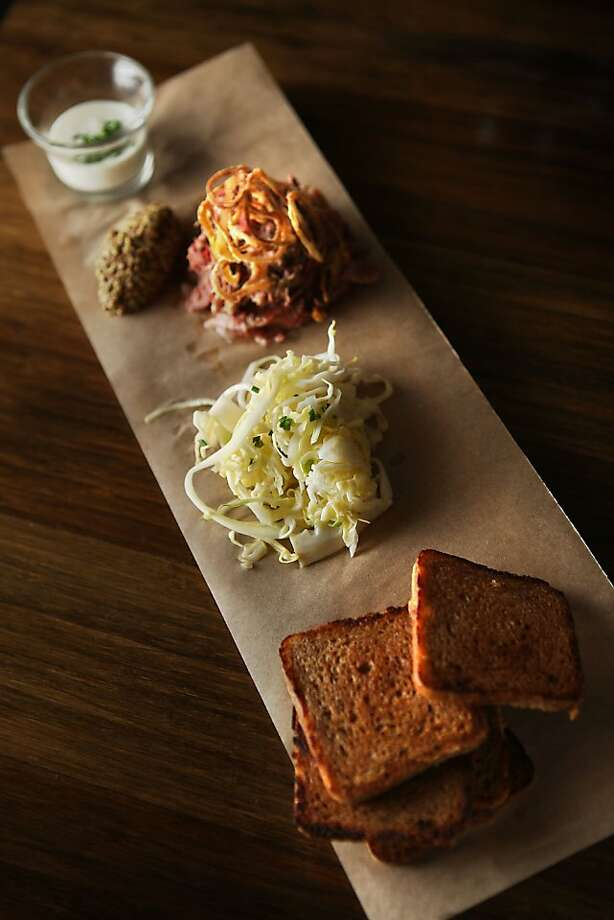 House pastrami--corned beef tongue, pickled cabbage, rye toast, horseradish creme fraiche, fried shallot--at Radius in San Francisco, Calif., on Friday, April 8, 2011. Photo: Liz Hafalia, The Chronicle