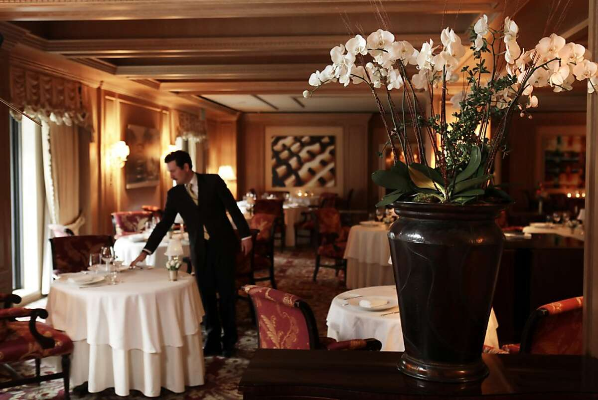 The dining room of the Ritz Carlton Restaurant in San Francisco.