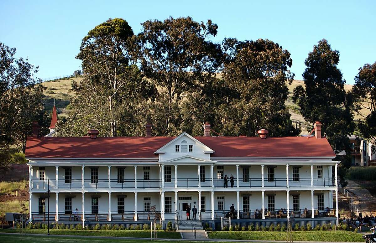 One of the historic buildings is photographed at Cavallo Point, a new 142-room lodge at Fort Baker at the north end of the Golden Gate Bridge, Saturday, May 3, 2008. This building houses the Farley bar, and Murray Circle Restaurant. Thor Swift For The San Francisco Chronicle Ran on: 01-13-2011 Murray Circle occupies part of this historic building at Fort Baker.