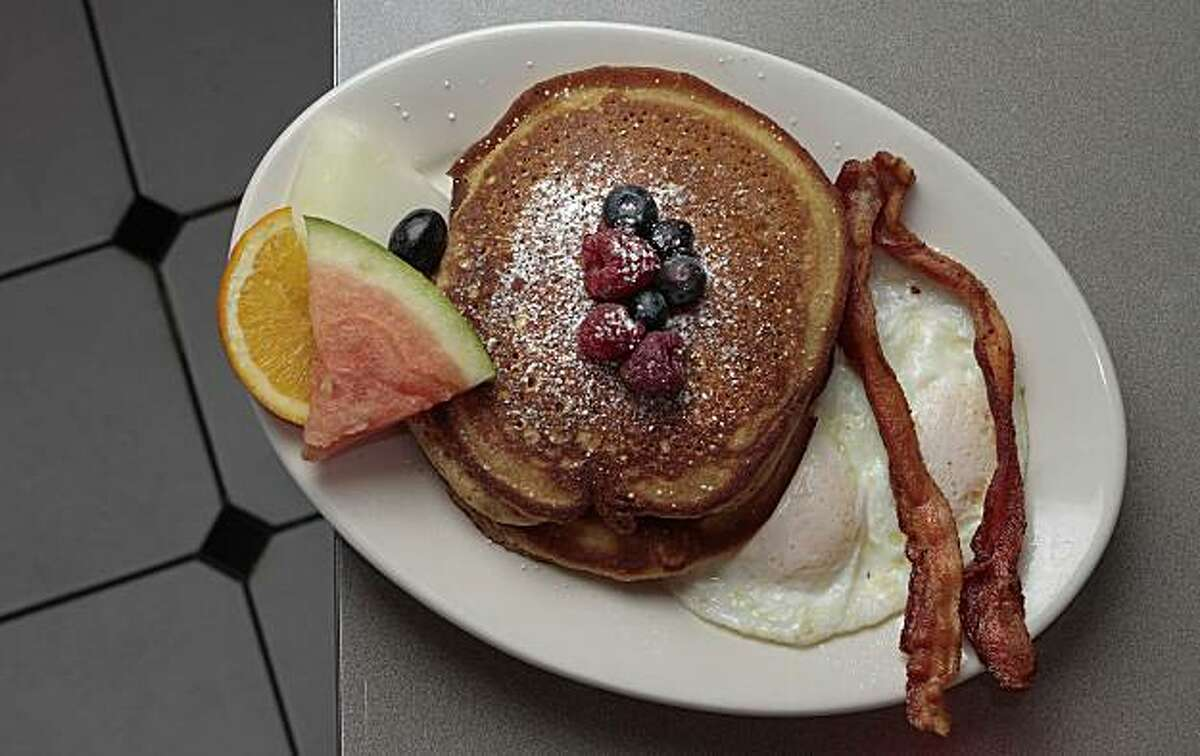 Pancakes and eggs at the Claremont Diner in Oakland, Calif., is seen on Friday, December 10, 2010.