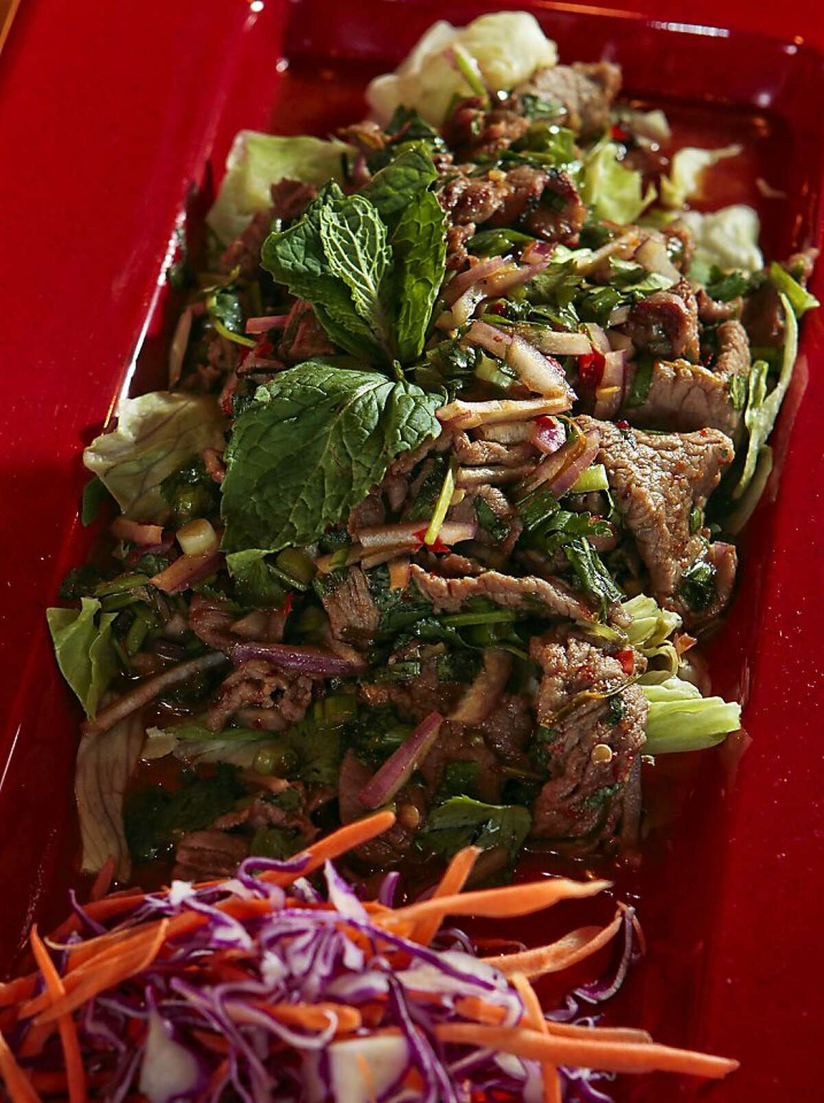 The Grilled Beef salad at Thaiger Thai Kitchen in San Mateo, Calif., is seen on Saturday, Nov. 27, 2010.