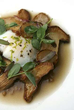 Commonwealth offers a dish of slow cooked farm egg nestled in matsutake mushrooms, Jerusalem artichoke, barley and yuzu.  Commonwealth is a Progressive American restaurant in the Mission District under the direction of executive chef Jason Fox and chef de cuisine Ian Muntzert in San Francisco, Calif. on Saturday, Nov. 20, 2010. Photo: Kirsten Aguilar, The Chronicle