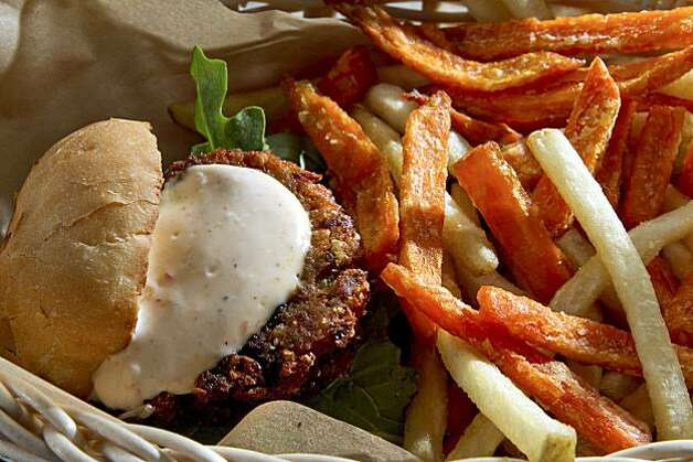 The Moo-less slider with mixed fries at Wheezy's Grass Fed Shed in San Rafael, Calif., is seen on Saturday, Nov. 20, 2010.  Ran on: 11-25-2010 Photo caption Dummy text goes here. Dummy text goes here. Dummy text goes here. Dummy text goes here. Dummy text goes here. Dummy text goes here. Dummy text goes here. Dummy text goes here. Photo: John Storey, Special To The Chronicle