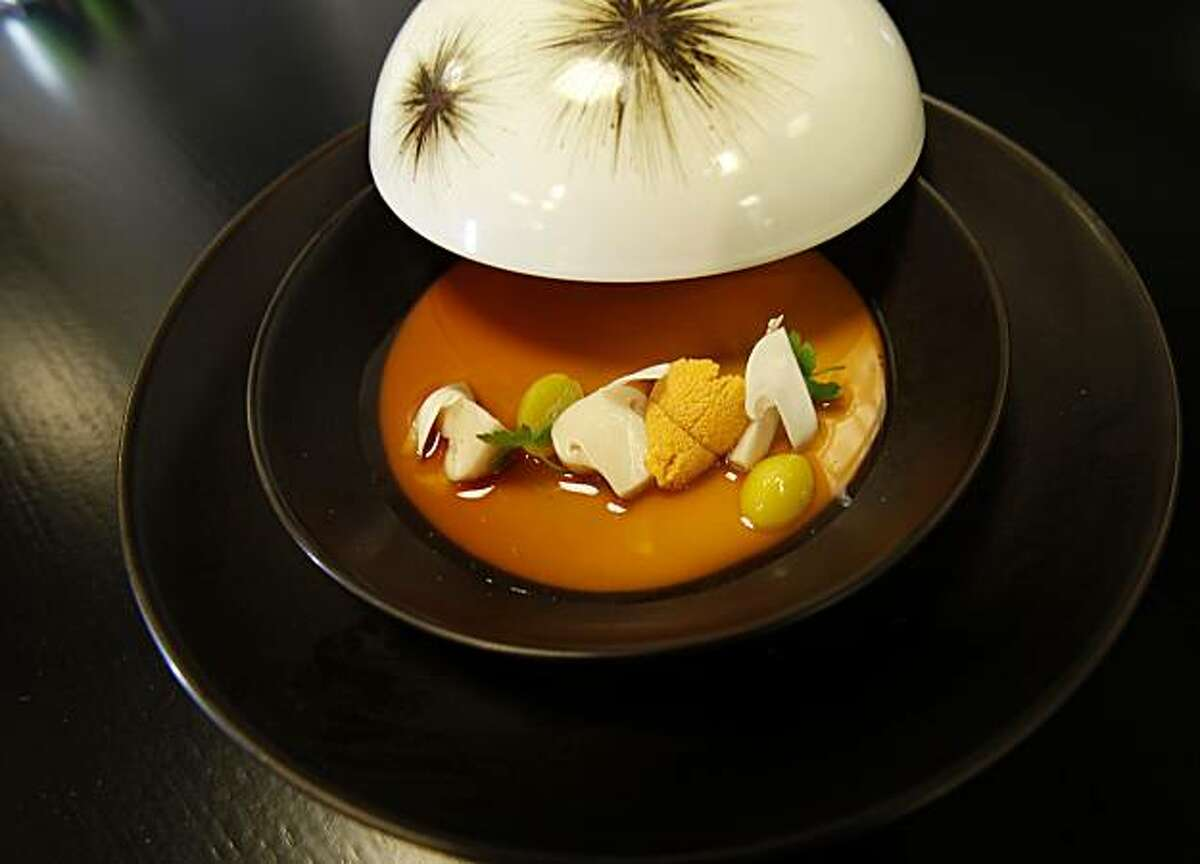Sea urchin custard with matsutake mushroom and ginkgo nuts at Benu. Benu is a new restaurant by former French Laundry Chef du Cuisine Corey Lee in San Francisco, Calif.