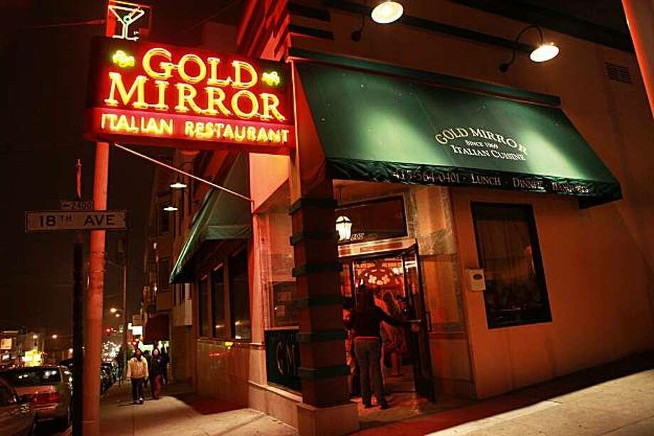 The Gold Mirror Italian Restaurant During Dinner Hour In San Francisco Calif