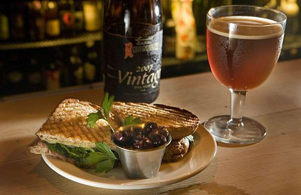 The hot Coppa sandwich with a Belgian Ale at the Mill Valley Beerworks in Mill Valley, Calif., is seen on Tuesday Oct. 19, 2010.