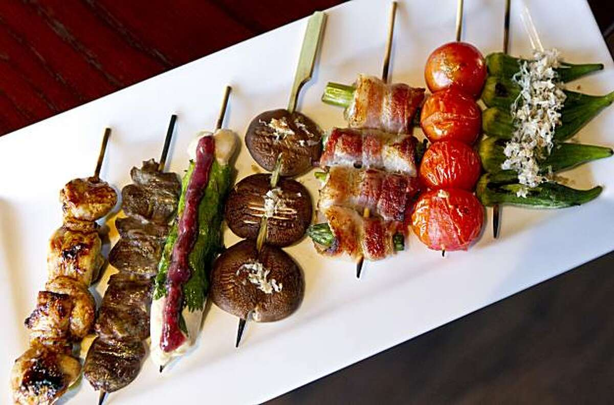 A plate of skewers is seen at Kokko in San Mateo, Calif., on Friday, September 24, 2010.