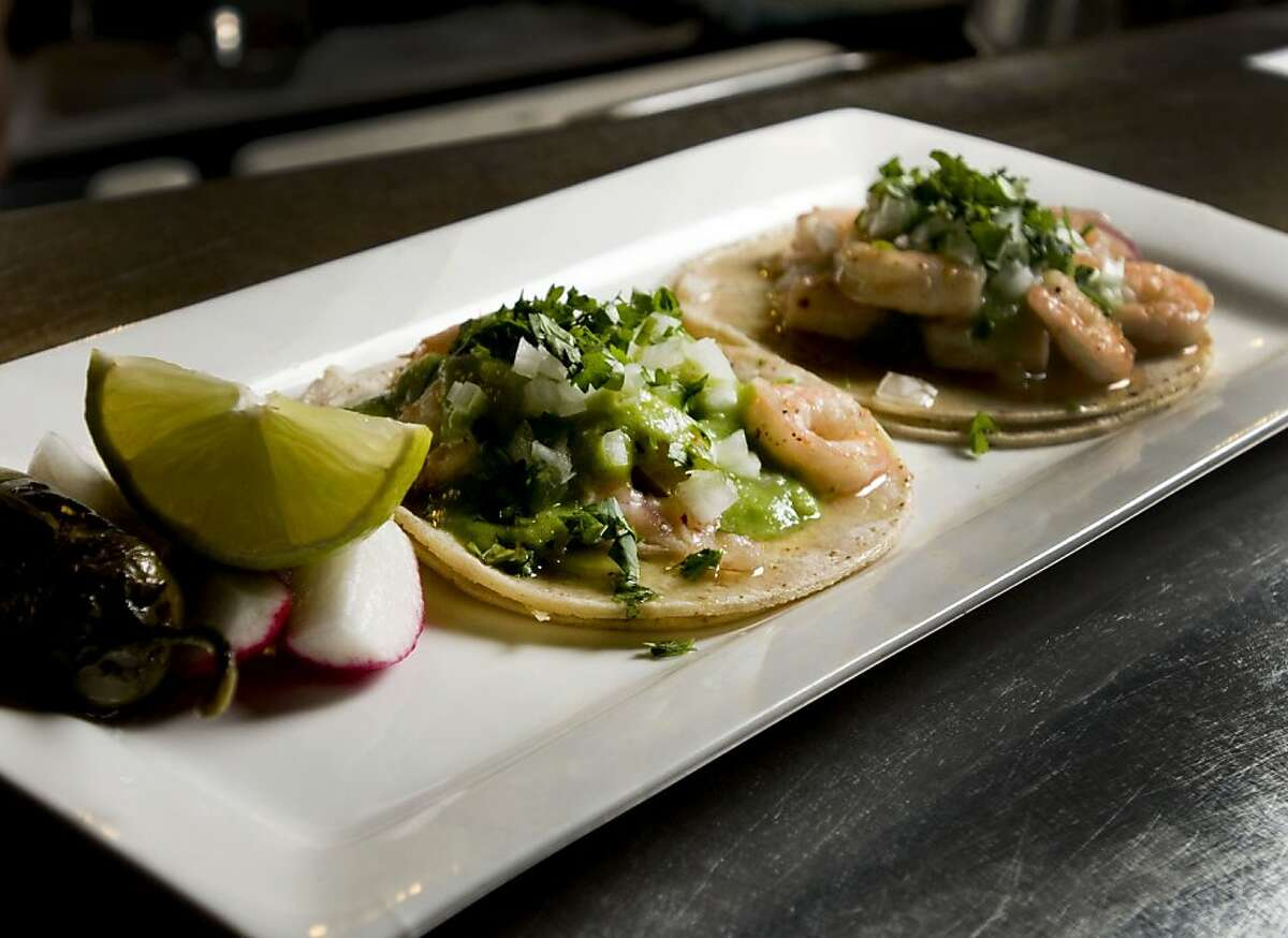 A plate of shrimp tacos at the restaurant Don Pisto's in San Francisco, Calif., on Friday, September 17, 2010.