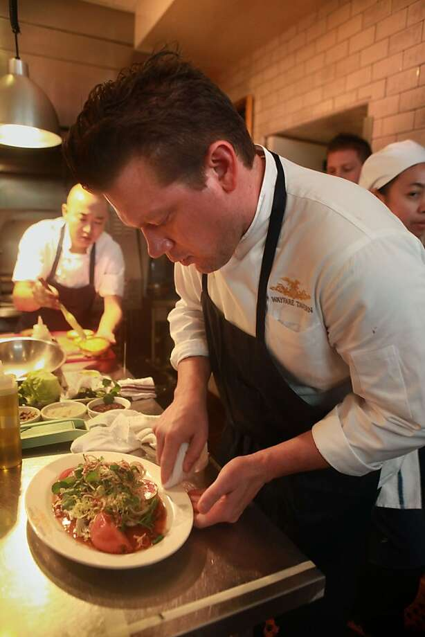 Chef Tyler Florence plating food at the Wayfare Tavern in San Francisco, Calif., on Wednesday, August 25, 2010. Photo: Liz Hafalia, The Chronicle
