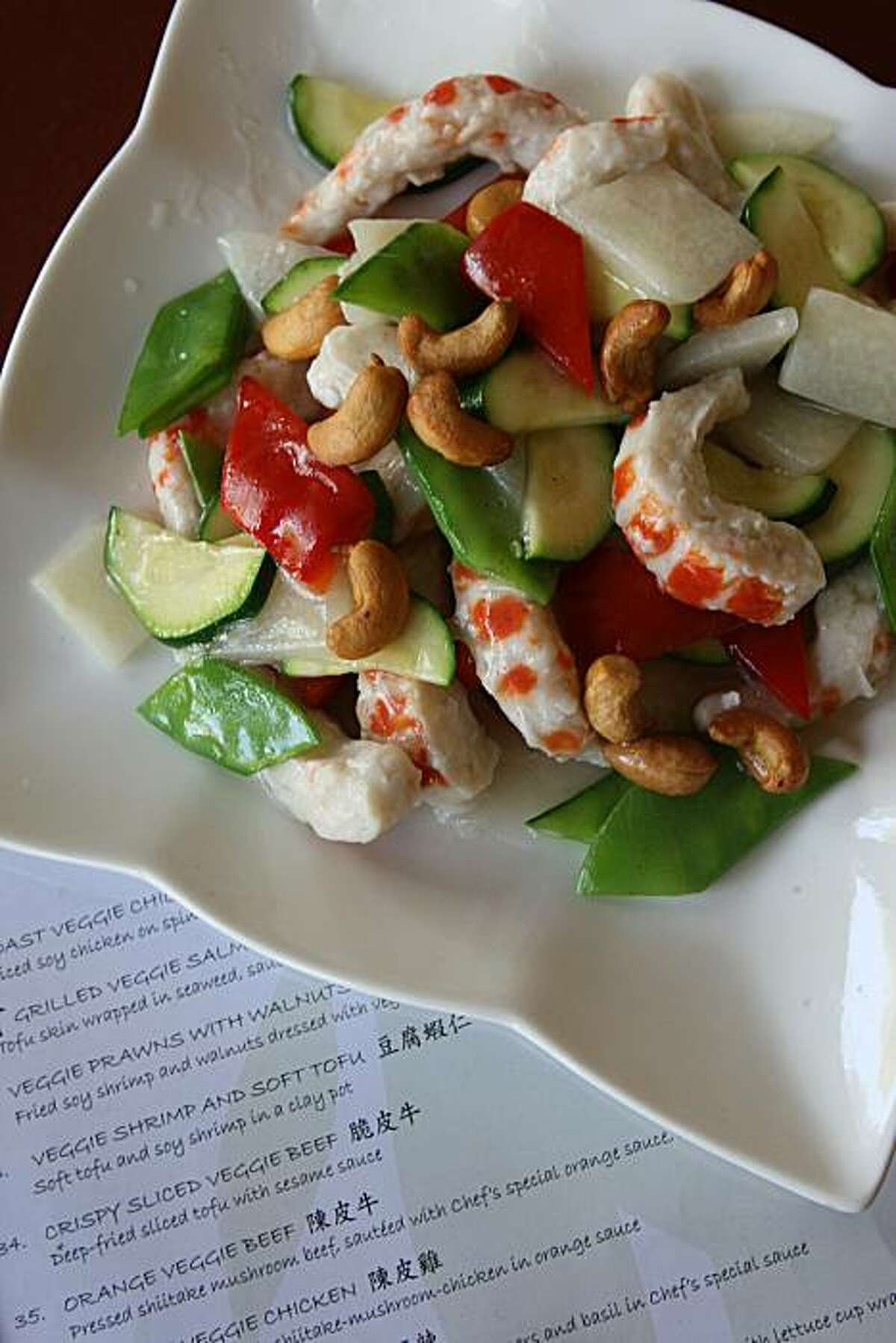 Cashew veggie shrimp at Garden Fresh, a vegan restaurant in Palo Alto, Calif., on Tuesday, August 3, 2010.
