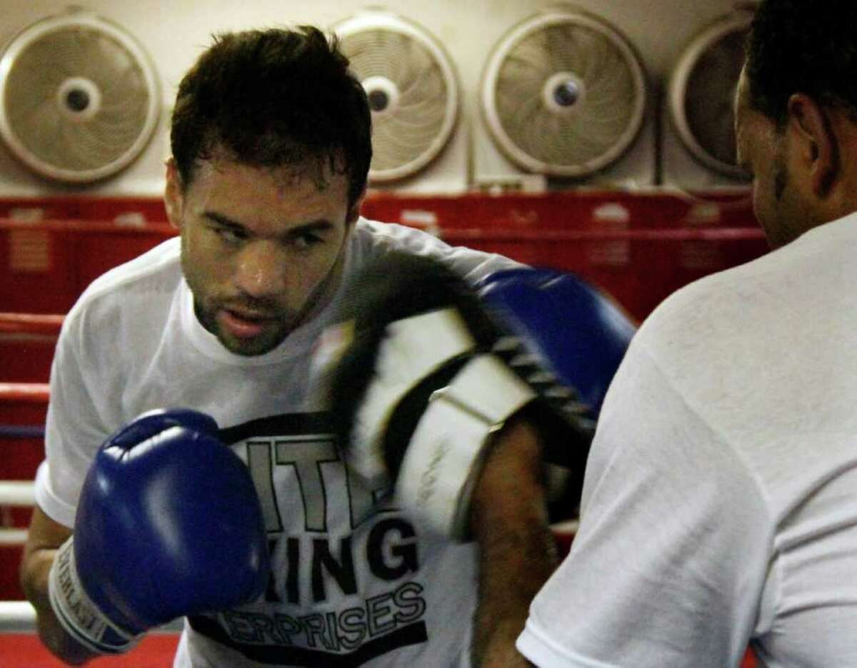 Junior Middleweight Delvin Rodriguez workout at Kingsway Boxing Gym on Monday, Nov. 28, 2011 in New York. Rodriguez will fight Pawel Wolak for the IBA Junior Middleweight Championship on the under card of the