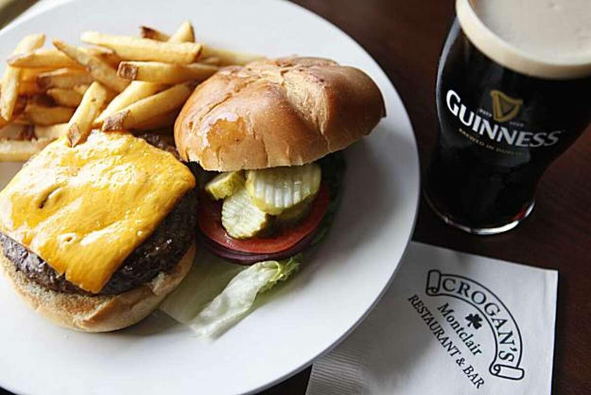 A Crogan 1/2 lb. burger sits on the bar at Crogan's on Friday June 18, 2010 in Oakland, Calif.