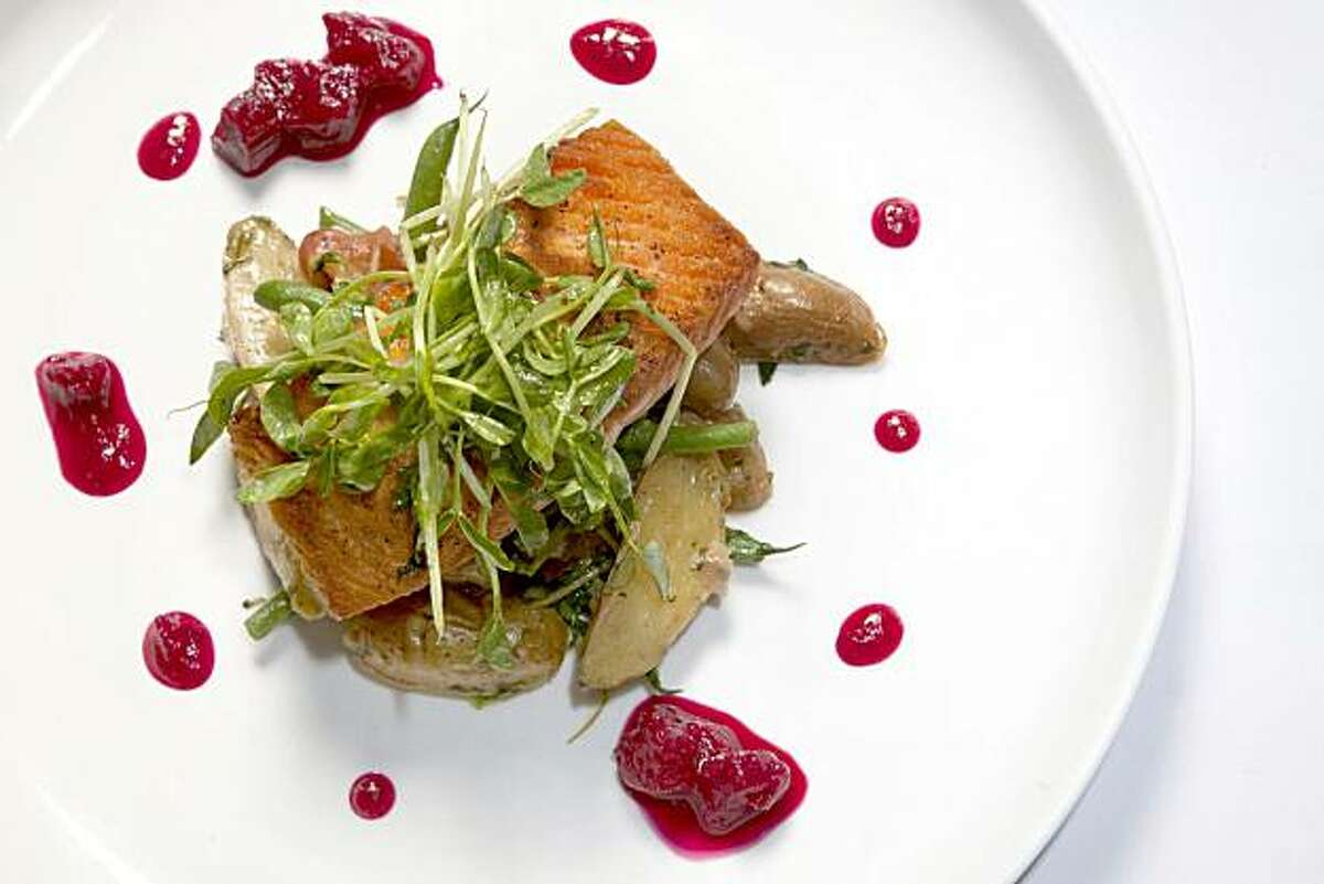 Wild King Salmon with haricot verts, fingerling potatoes, rhubarb chutney, pea shoots and harissa as served at Laurus Bistro in the Blackhawk Plaza in Danville, Calif. on Thursday, May 27, 2010. Kat Wade / Special to the Chronicle