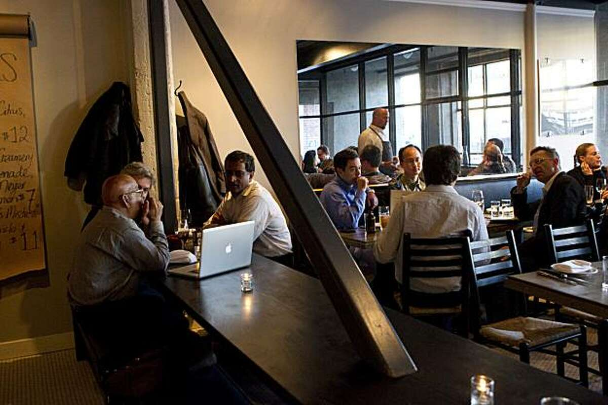 The interior of Marlowe features a long table that runs much of the length of the restaurant in San Francisco, Calif., on April 5, 2010.