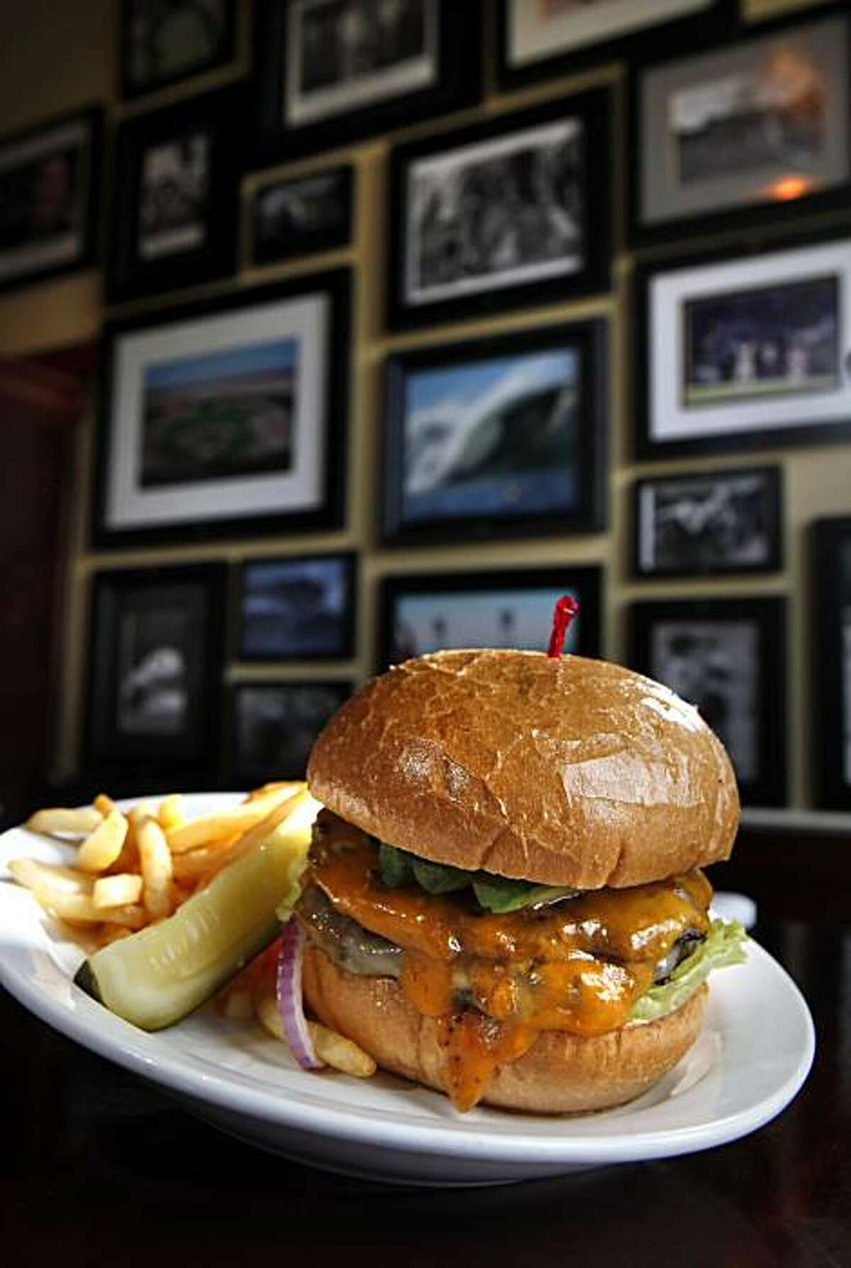 The triple cheeseburger served at Finnegan's Marin in Novato. FInnegan's is a classic Irish Pub that caters to families in the day and grown-ups in the evening.
