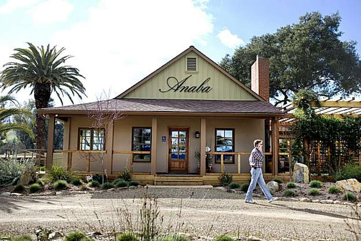 A visitor walks in front of Anaba Winery, which opened eight months ago at the intersection of highways 121 and 116, in Sonoma, Ca., on Saturday, Feb. 6, 2010.