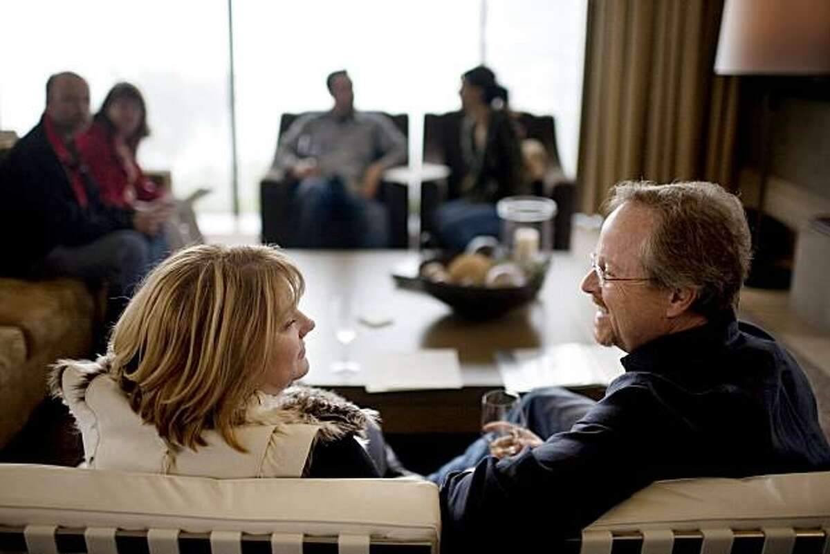 Cade and Wendy Burke, of Houston, Tx., relax in the sitting area of the Cade Winery tasting room, in Angwin, Ca., on Saturday, Feb. 6, 2010.