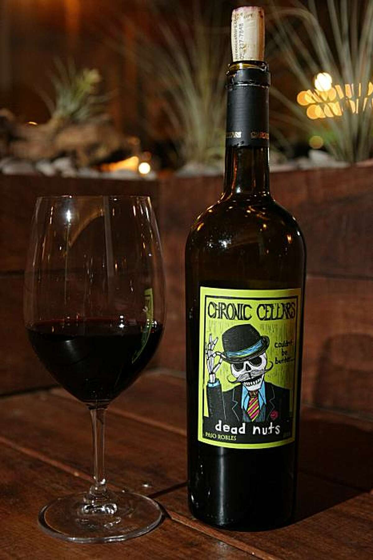 A glass of Dead Nuts red zinfandel from Chronic Cellars in Paso Robles, at Red + White Wine Bar in the Glen Park neighborhood of San Francisco, CA Friday night, February 26, 2010.