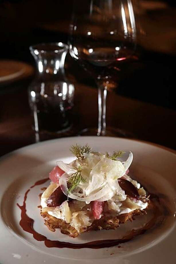 """House smoked trout, celery root latke, horseradish crme fra""""che, pickled beets, shaved fennel, one of Baker and Bankers starters, is seen on  Tuesday February 16, 2010 in San Francisco, Calif. Photo: Lea Suzuki, The Chronicle"""