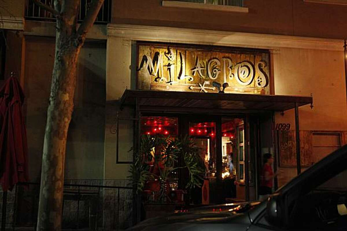The sign outside Milagros lights the way to a lively bar scene on Friday Feb. 19, 2010 in Redwood City, Calif.