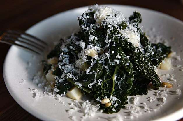 Kale salad--celery root, pinenuts, Fiscalini cheese-- at Gather, a new sustainable restaurant in Berkeley, Ca., on Thursday, February 12, 2010. Photo: Liz Hafalia, The Chronicle