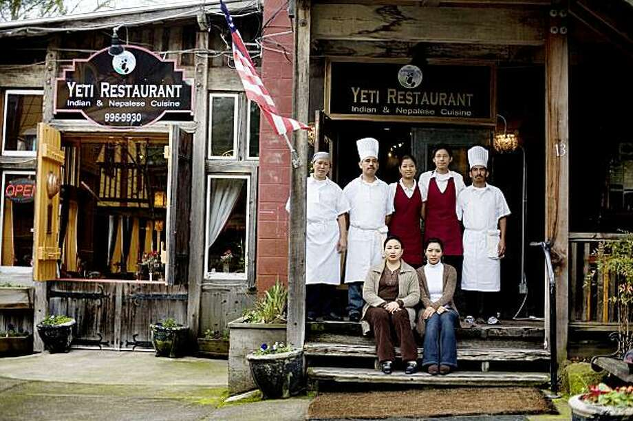 (L-R) Chuky Sherpa, curry chef, Delfino Lopez, tandoori chef, and his brother, Heriberto, far right, Carina Somname, and her brother Yetish, Geeta Shrestha and Menuka Shrestha, of Yeti Restaurant, which features a fusion of Indian, Himalayan and Nepalese food, located at the Jack London Village, in Glen Ellen, Ca., on Friday, Jan. 29, 2010. Photo: Lianne Milton, Special To The Chronicle