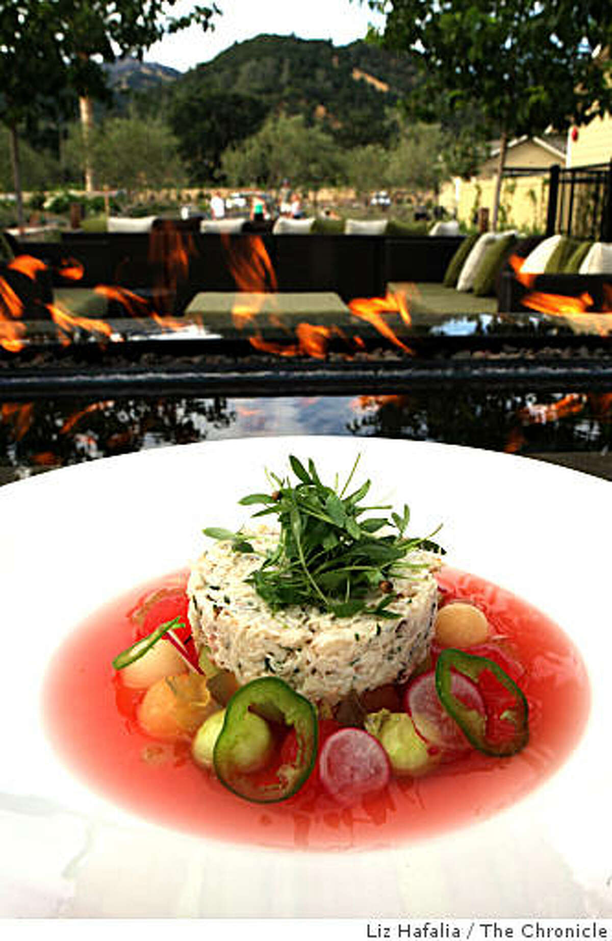 A crab salad at Solbar, a restaurant at the Solage resort in Calistoga, Calif., on Tuesday, August 5, 2008.
