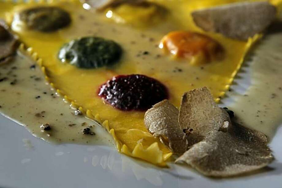The ravioli giganti with six autumnal fillings and black truffle served at the new Quince restaurant in San Francisco, Calif. Quince has moved into the old Myth space. Photo: Carlos Avila Gonzalez, The Chronicle
