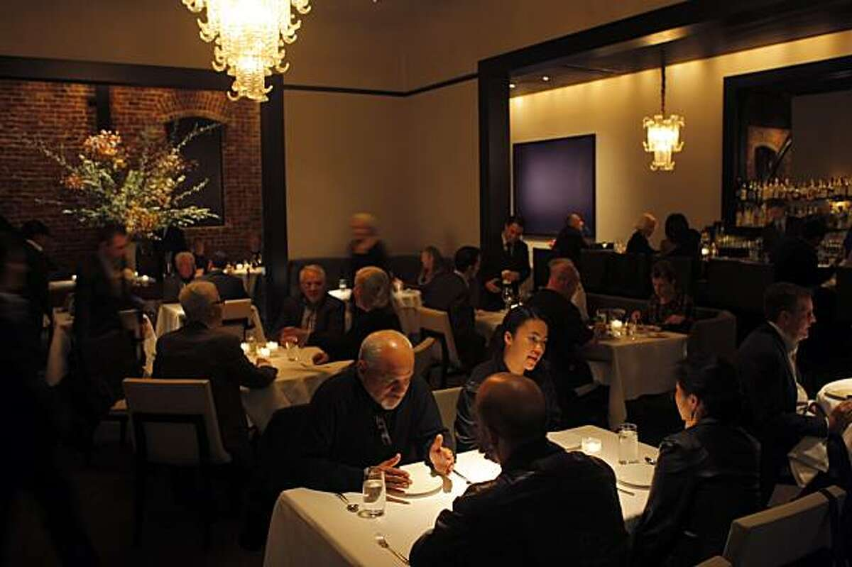 The dining room at the new Quince restaurant. Quince has moved into the old Myth space.