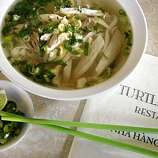 Chicken noodle soup at Turtle Tower, 631 Larkin St, between Eddy and Ellis in the Tenderloin in San Francisco, Calif., on Monday, November 2, 2009.  Turtle Tower has Ha Noi style Vietnamese cuisine.
