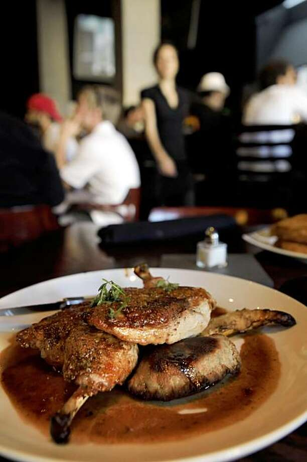 Sous vide chicken served at Meridian in Berkeley, Calif.This is a sports/gastro pub, with lots of TVs and gussied up food. Photo: Carlos Avila Gonzalez, The Chronicle