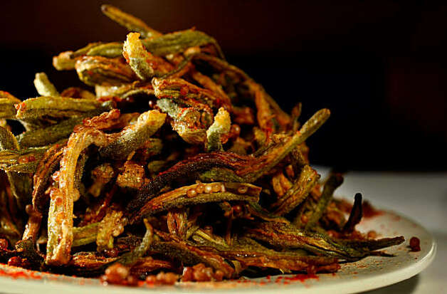 Fried okra is a favorite of customers at the Neela's Indian Restaurant, Tuesday Sept. 29, 2009, in Napa, Calif. Photo: Lacy Atkins, The Chronicle