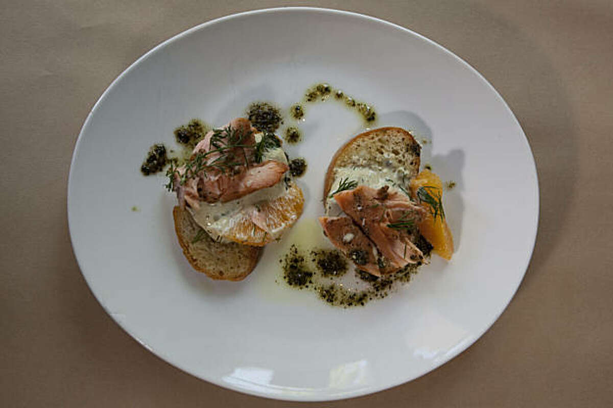 The salmon crostini is seen in the restaurant The Kitchen Table August 5, 2009 in Mountain View, California.