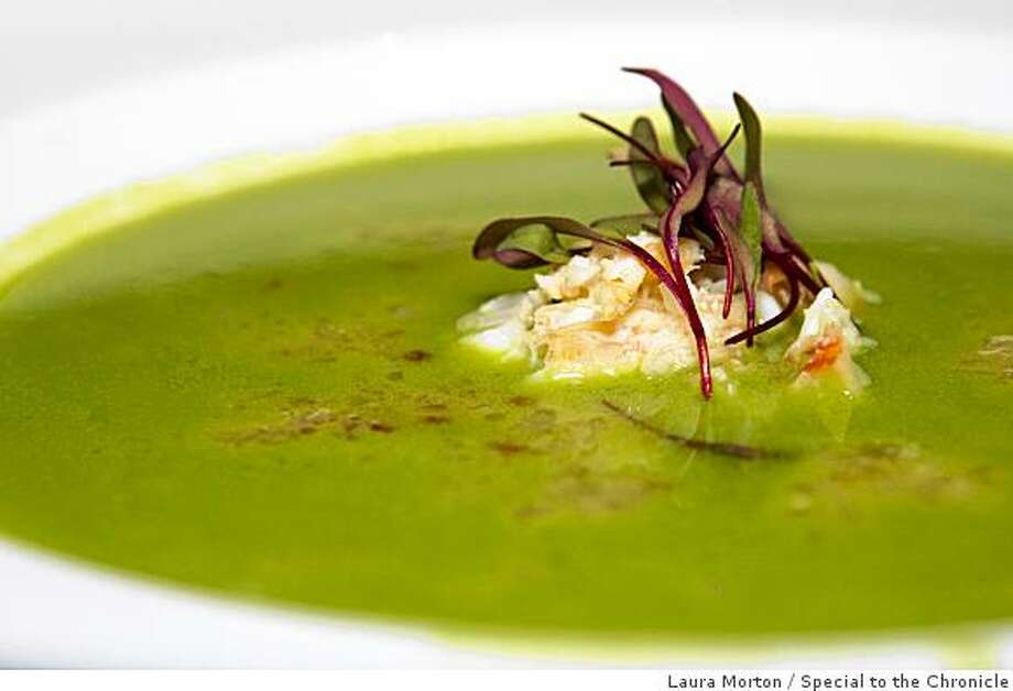 The pea soup with dungeness crab and sweet onion salsa at 5A5 Steak Lounge in San Francisco, Calif., on Tuesday, June 30, 2009. Photo: Laura Morton, Special To The Chronicle