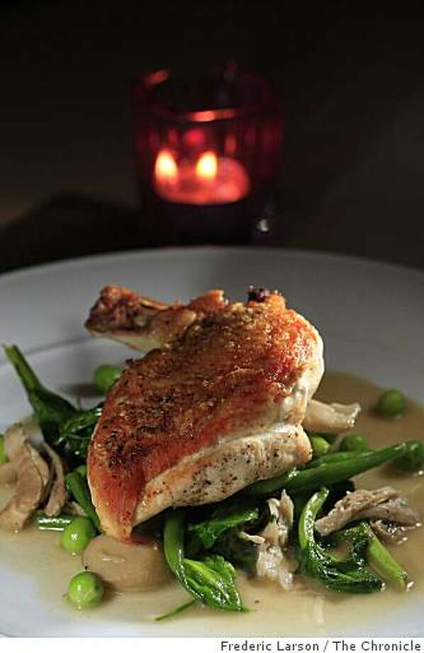 Midi is a new restaurant in the Galleria Park Hotel on Sutter Street in San Francisco features a chicken breast on June 3, 2009. Photo: Frederic Larson, The Chronicle